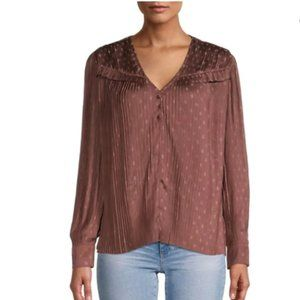 Current Air Pleated Polka Dot Blouse